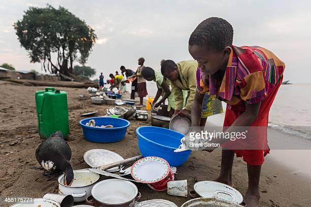 The fishing village of Kavanyongi on the Northern shores of Lake Edward on August 9 2013 inside Virunga National Park DRC This lake shore village...