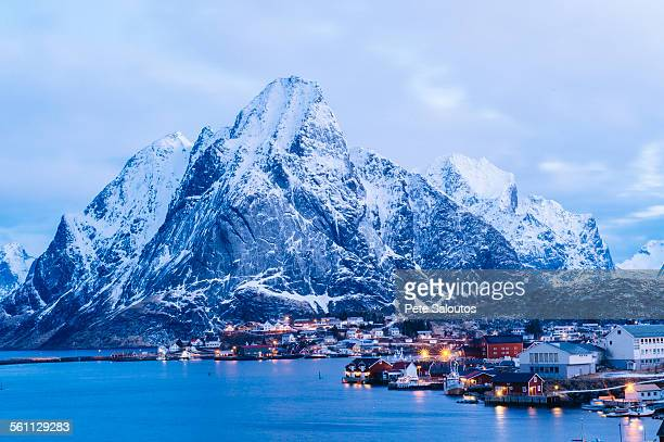 The fishing village of Reine at dusk, Lofoten, Norway