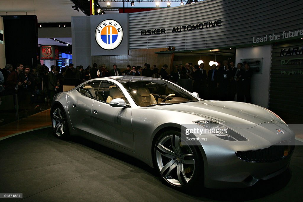 The Fisker Karma a plugin hybrid sports sedan is debuted during the 2008 North American International Auto Show in Detroit Michigan US on Monday Jan...