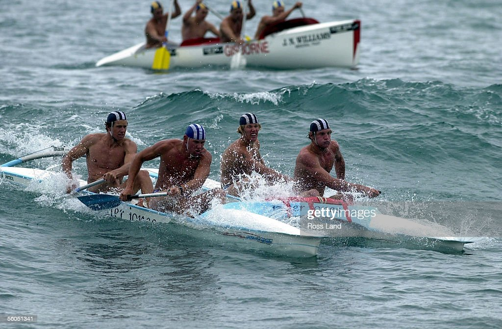 The Fitzroy Under19 canoe crew power their twin hulled Surf Cat into second place in the canoe heats during the NZ Surf Lifesaving champs held at...