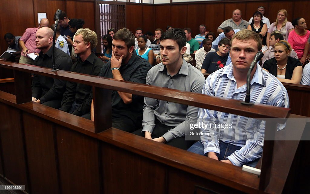 The five accused in the Durban Magistrate court for their bail application on April 8, 2013 in Durban, South Africa. All have been charged with the murder of a British Royal Marine, Brett Williams. Williams was beaten to death at a Super XV Match at Durban Stadium.