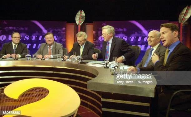 The five challengers for the Conservative party leadership Michael Ancram Ken Clarke David Davis Duncan Smith and Michael Portillo appearing on BBC...