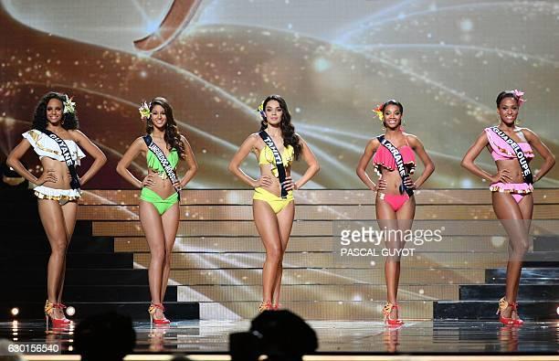 The five finalists Miss Guyane Alicia Aylies Miss LanguedocRoussillon Aurore Kichenin Miss Tahiti Vaea Ferrand Miss Lorraine Justine Camara and Miss...