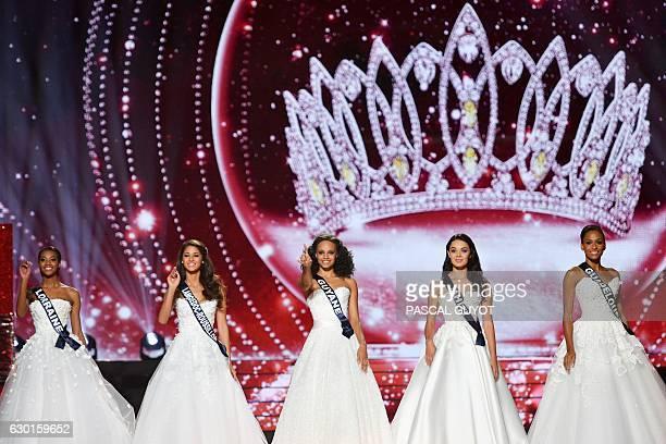 The five finalists Miss Lorraine Justine Camara Miss LanguedocRoussillon Aurore Kichenin Miss Guyane Alicia Aylies Miss Tahiti Vaea Ferrand and Miss...