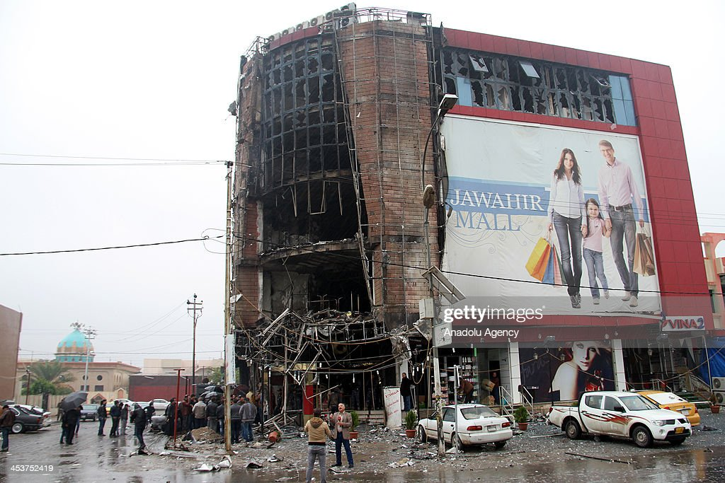 The five-storey mall damaged during clash between security forces and assailants, is seen on December 5 in Kirkuk, Iraq. Four people were killed and numerous others were wounded at a five-storey shopping center which an armed group occupied after failing to capture the Kirkuk Intelligence Directorate they had initially targeted in the northern Iraqi city.
