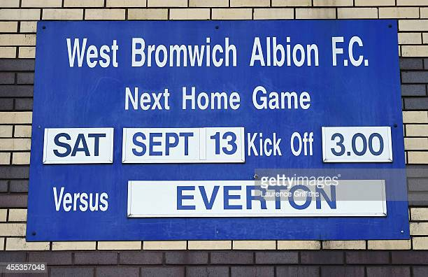 The fixture is displayed outside the ground prior to the Barclays Premier League match between West Bromwich Albion and Everton at The Hawthorns on...