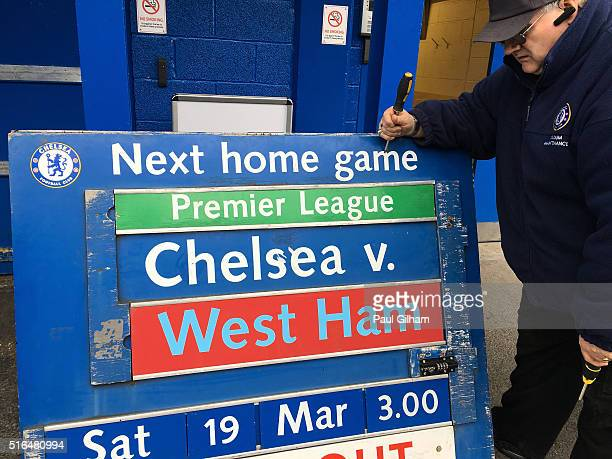 The fixture is displayed prior to the Barclays Premier League match between Chelsea and West Ham United at Stamford Bridge on March 19 2016 in London...