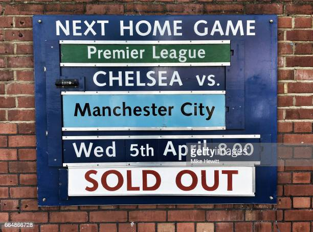 The fixture is displayed prior to the Premier League match between Chelsea and Manchester City at Stamford Bridge on April 5 2017 in London England