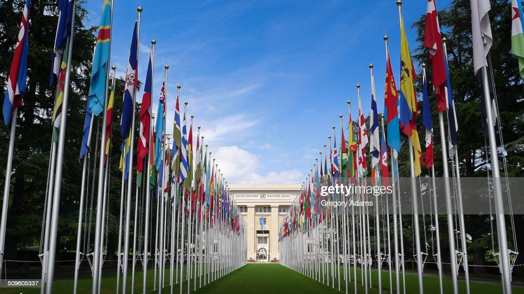 The Flag draped entrance to the United Nations Building in Geneva Switzerland
