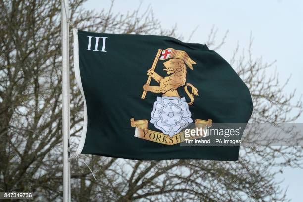 The flag flies at half mast at the 3rd Battalion The Yorkshire Regiment's barracks in Warminster Wiltshire after six soldiers are missing believed...