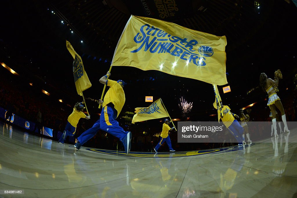 The flag handlers before the Oklahoma City Thunder against the Golden State Warriors for Game Five of the Western Conference Finals during the 2016 NBA Playoffs on May 26, 2016 at ORACLE Arena in Oakland, California.
