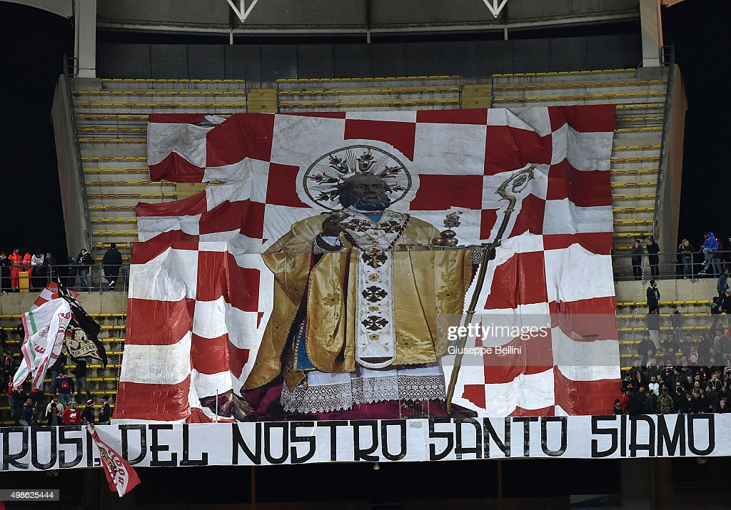 The flag in honor of St. Nicholas the Patron Saint of the city of Bari held by fans of AS Bari during a tournament between FC Internazionale, AC Milan and AS Bari at Stadio San Nicola on November 24, 2015 in Bari, Italy.