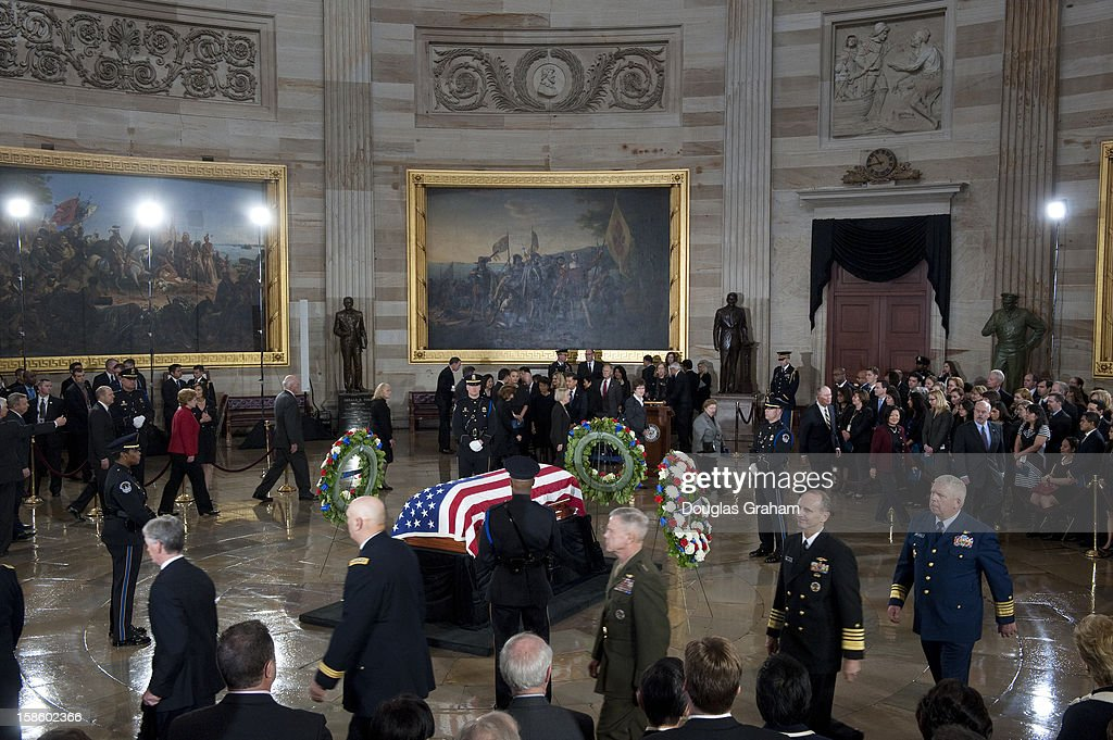 The flag is draped over the casket of U.S. Senator Daniel Inouye (D-HI) at the Rotunda of the U.S. Capitol where he will lie in state December 20, 2012 on Capitol Hill in Washington, DC. The late Senator had died at the age of 88 on Monday at the Walter Reed National Military Medical Center in Bethesda, Maryland where he had been hospitalized since early December. A public funeral service will be held at the Washington National Cathedral on Friday for Senator Inouye, a World War II veteran and the second-longest serving senator in history. His remains will be returned and laid to rest in his home state.