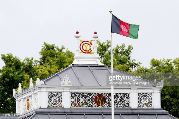 The flag of Afghanistan flies above the pavilion during the one day match at Lord's London