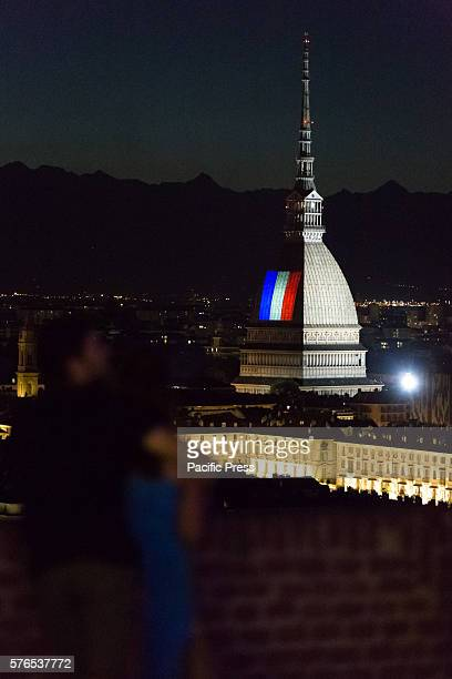 The flag of France was projected onto the Mole Antonelliana facade in memory of the victims in Nice on the evening of July 14