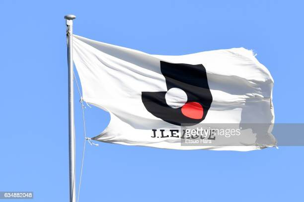 The flag of JLeague is seen during the preseason friendly between Urawa Red Diamonds and FC Seoul at Urawa Komaba Stadium on February 12 2017 in...