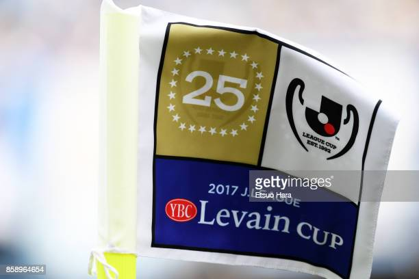 The flag of Levain cup is seen during the JLeague Levain Cup semi final second leg match between Kawasaki Frontale and Vegalta Sendai at Todoroki...