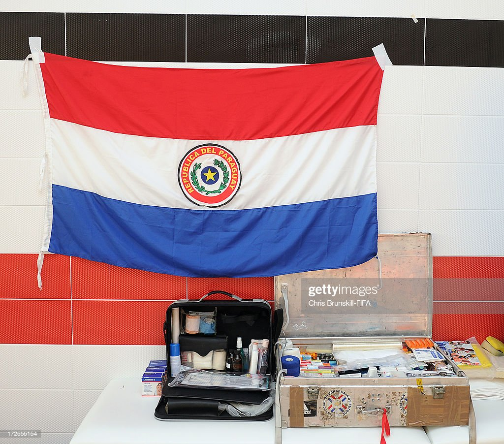 The flag of Paraguay hangs in the dressing room prior to the FIFA U20 World Cup Round of 16 match between Iraq and Paraguay at Akdeniz University Stadium on July 03, 2013 in Antalya, Turkey.
