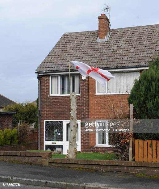 The flag of St George flying outside the home of Private Daniel Wilford in Huddersfield Pte Wilford was one of six soldiers to die in a blast in...