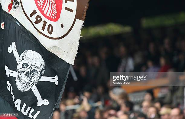 The flag of St Pauli is seen during the Second Bundesliga match between FC St Pauli and Energie Cottbus at the Millerntor Stadium on October 25 2009...