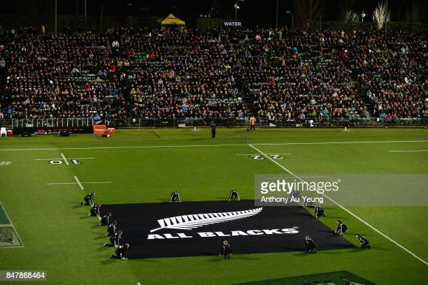 The flag of the All Blacks is seen prior to the team lineups during the Rugby Championship match between the New Zealand All Blacks and the South...