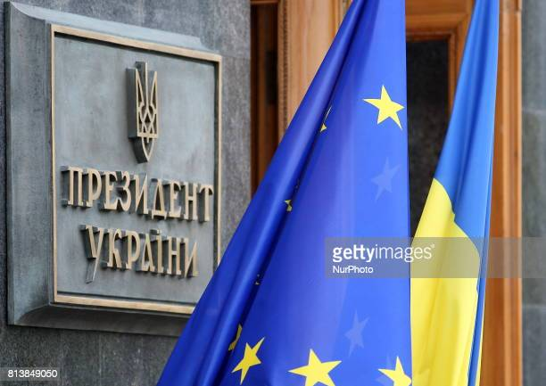 The flag of the European Union and the National Flag of Ukraine near the Administration of the President of Ukraine in Kiev Ukraine Thursday July 13...