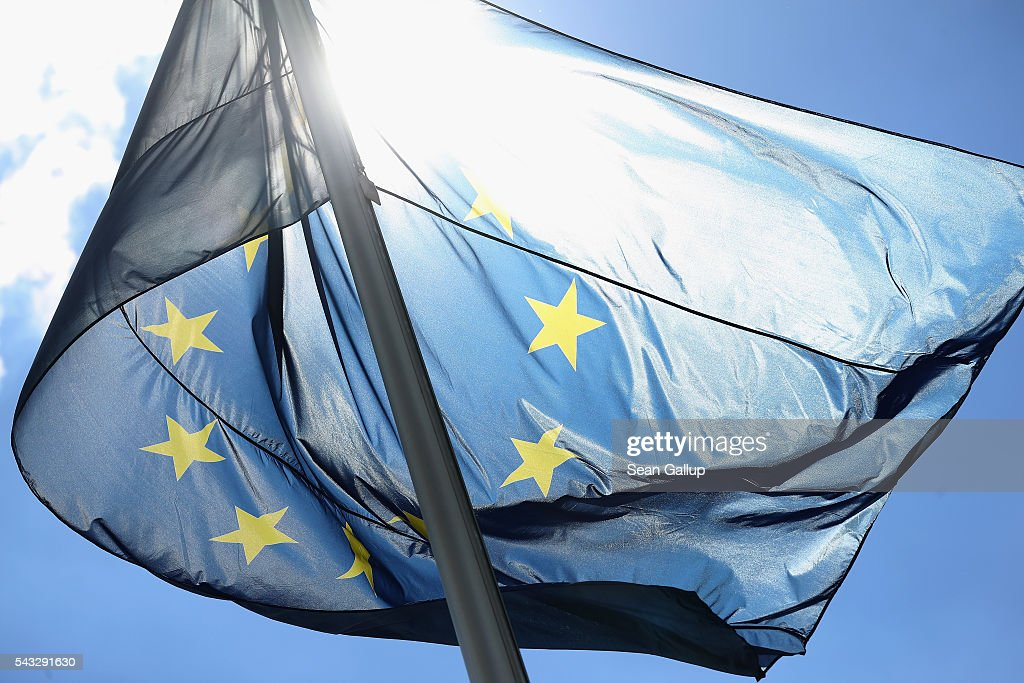 The flag of the European Union flies at the Chancellery on June 27, 2016 in Berlin, Germany. German Chancellor Angela Merkel is scheduled to receive French President Francois Hollande, Italian Prime Minister Matteo Renzi and European Council President Donald Tusk today to discuss the consequences of last week's Brexit vote.