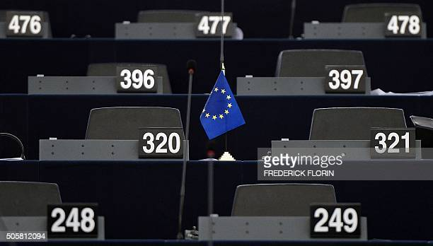 The flag of the European Union is pictured within a debate on the outcome of the UN International Conference on Climate Change COP21 at the European...
