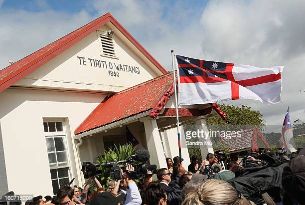 The flag of the Independent Tribes of New Zealand is seen outside Te Tii Marae on February 5 2013 in Waitangi New Zealand The Waitangi Day national...