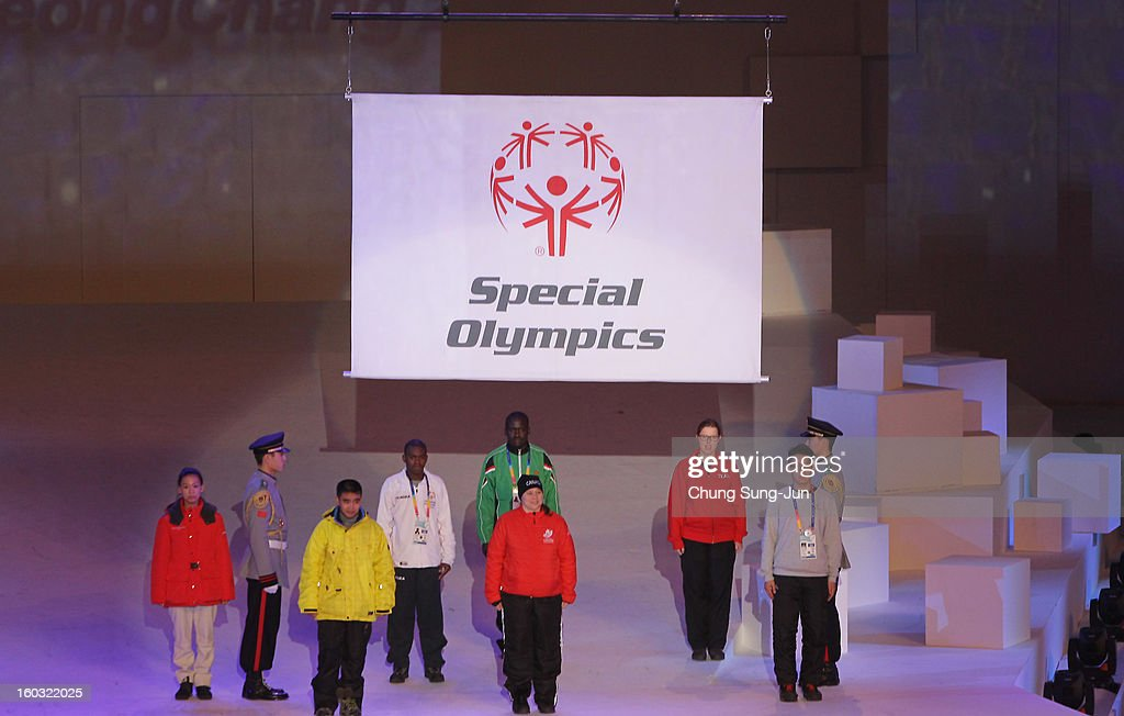 The flag of the Special Olympics raised as players attend the Opening Ceremony of the 2013 Pyeongchang Special Olympics World Winter Games at the Yongpyeong stadium on January 29, 2013 in Pyeongchang-gun, South Korea.
