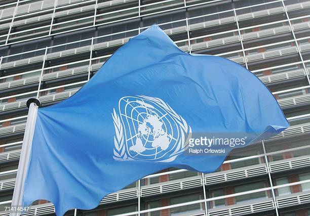 The flag of the United Nations is blown in the wind in front of their German headquarters on July 11 2006 in Bonn Germany UN Generalsecretary Kofi...