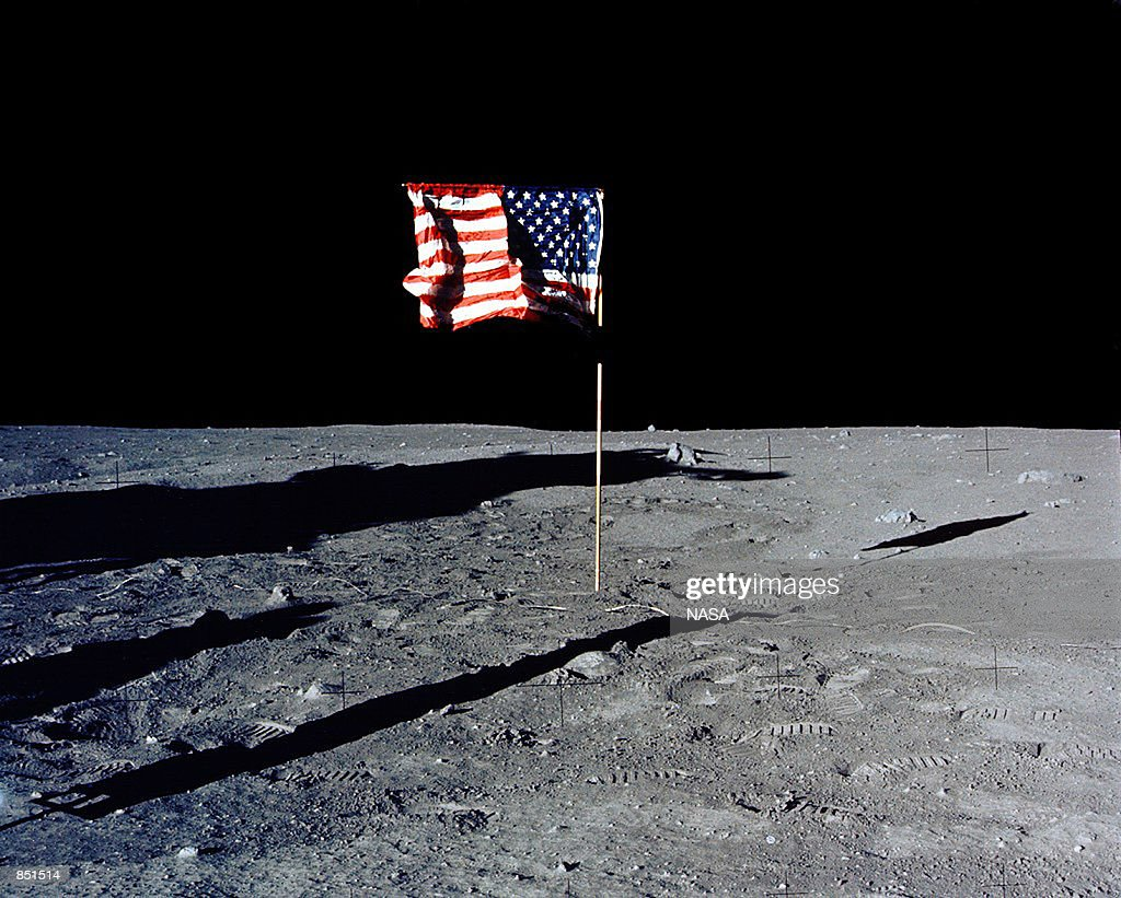 The flag of the United States stands alone on the surface of the moon The 30th anniversary of the Apollo 11 Moon landing mission is celebrated July...