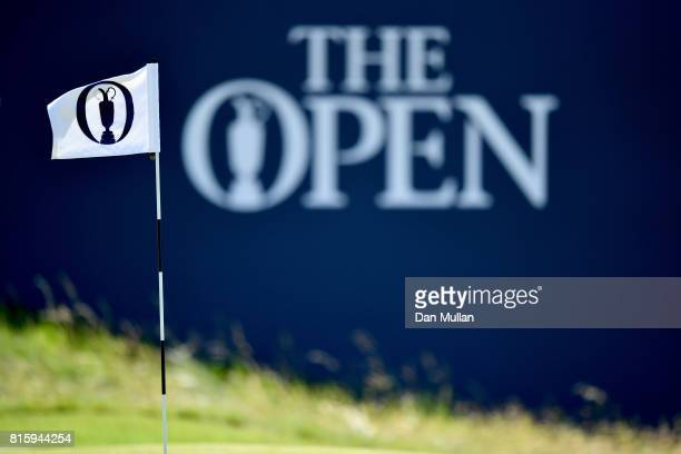 The flag on 18 is seen during a practice round prior to the 146th Open Championship at Royal Birkdale on July 17 2017 in Southport England