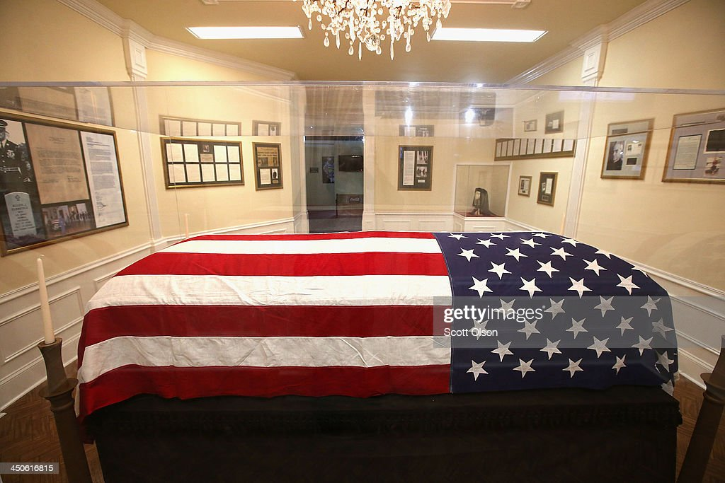 The flag that was draped over the casket of President John F. Kennedy as his body lay in state in the East Room of the White House is displayed at the Historic Auto Attractions museum on November 19, 2013 in Roscoe, Illinois. The museum has a large collection of items from Kennedy's life and death on display. It has been fifty years since John F. Kennedy was assassinated on November 22, 1963.