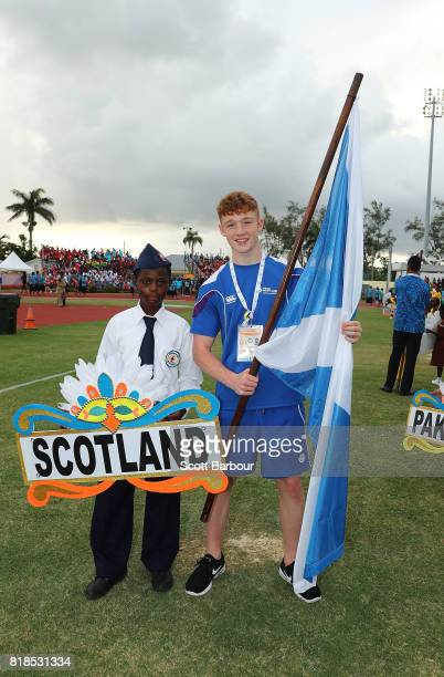 The flagbearer for Scotland poses during the 2017 Youth Commonwealth Games Opening Ceremony on day 1 of the 2017 Youth Commonwealth Games at the...
