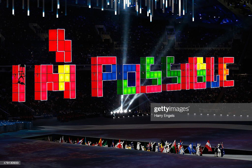 The flagbearers walk out during the Closing Ceremony of the 2014 Paralympic Winter Games at Fisht Olympic Stadium on March 16, 2014 in Sochi, Russia.