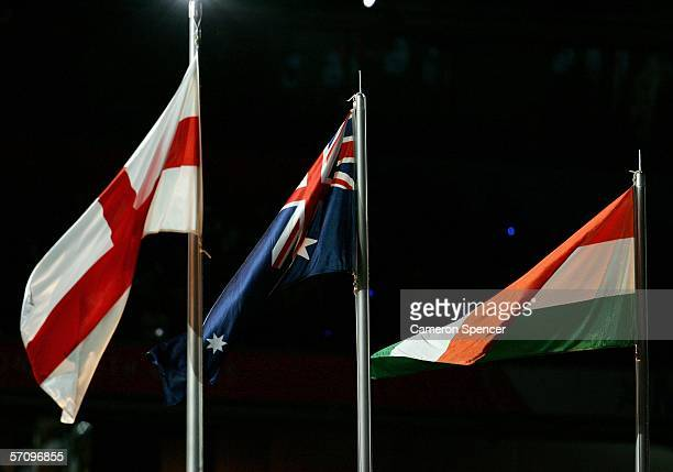 The flags of England Australia and India are raised during the Opening Ceremony for the Melbourne 2006 Commonwealth Games at the Melbourne Cricket...