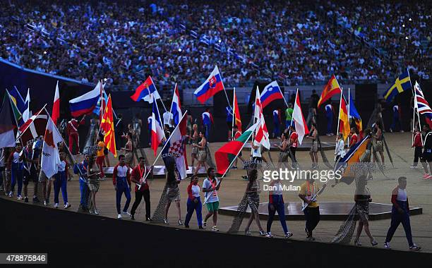 The flags of the competing nations enter the stadium during the Closing Ceremony for the Baku 2015 European Games at Olympic Stadium on June 28 2015...