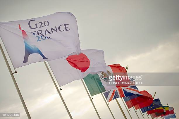 The flags of the G20 member countries fly on November 2 2011 in Cannes southern France on the eve of the start of the G20 summit The G20 will tackle...