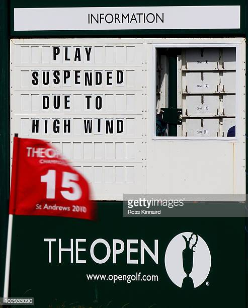 The flagstick on the 15th green is seen in the breeze during the second round of the 139th Open Championship on the Old Course St Andrews on July 16...