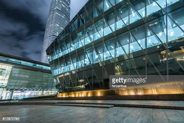The flagstones of the commercial streets of international finance center and the exterior wall of the building, Hong Kong, China.