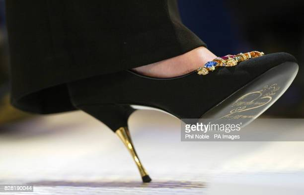 The flamboyant shoes of shadow culture secretary Theresa May as she gives her addresses on the opening day of the Conservative Party Conference in...