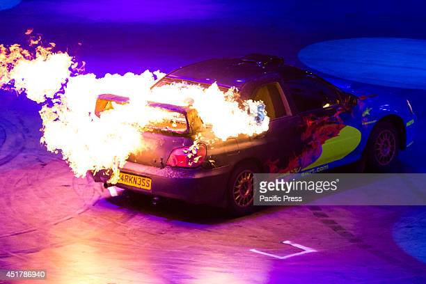 The flaming car driven by one of the 'Top Gear' stunt drivers during their visit in Turin 'Top Gear' is a popular BBC television program about cars...