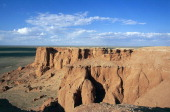 The Flaming Cliffs sandstone mountain formation where American paleontologist Roy Chapman Andrews unearthed more than a hundred dinosaur fossils in...