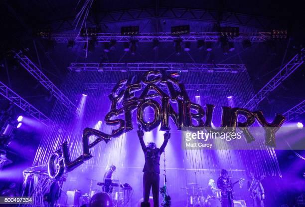 The Flaming Lips perform at The Park at the Glastonbury Festival site at Worthy Farm in Pilton on June 23 2017 near Glastonbury England Glastonbury...