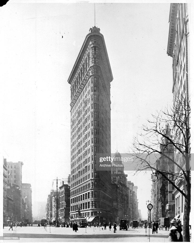The Flatiron Building on 5th Avenue in New York City circa 1920