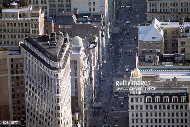 The Flatiron Building on the left and the 5th Avenue view from above Manhattan New York United States of America