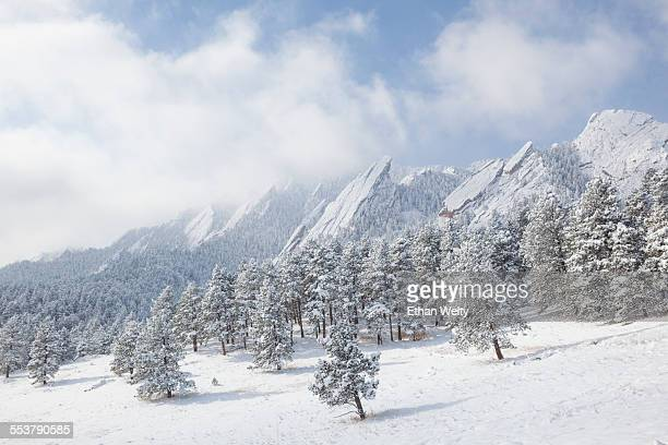 The Flatirons in snow, Chautauqua Park, Boulder, Colorado.