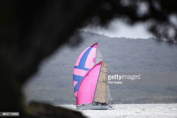 The fleet leaves Auckland Harbour and enters the Rangitoto channel at the start of the Coastal Classic on October 20 2017 in Auckland New Zealand The...