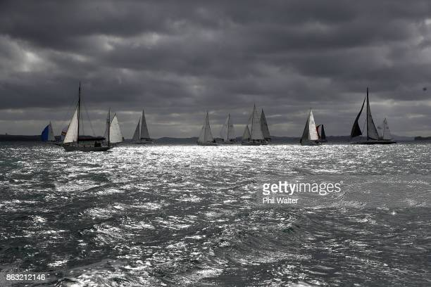 The fleet leaves Auckland Harbour and through the Rangitoto channel on October 20 2017 in Auckland New Zealand The Coastal Classic Yacht Race from...
